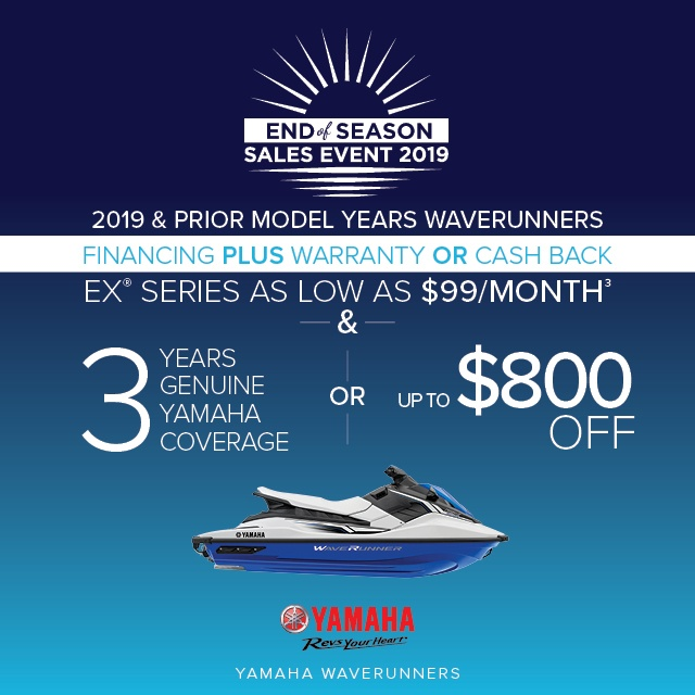 Bayside Jetdrive Yamaha Waverunners Offers End of Season Sales Event on EX Series 2019 640x640